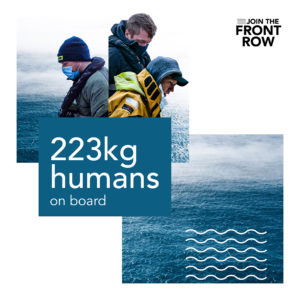 The Front Row ocean row in numbers: 223 kg humans on board the Whaleboat O28 ocean rowing boat