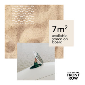 The Front Row ocean row in numbers: 7 sqm available space on board the Whaleboat O28 ocean rowing boat