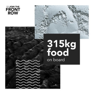 The Front Row ocean row in numbers: 315 kg food on board the Whaleboat O28 ocean rowing boat
